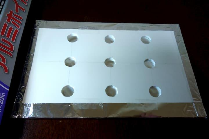 塩ビ板をアルミホイルで遮光した画像